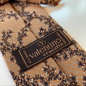 Valentino Cravatte Orange floral Pattern Mens Tie
